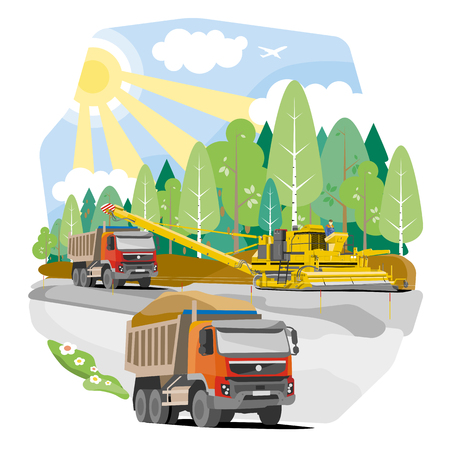 Drawing color dump trucks construction of the road, vector illustration