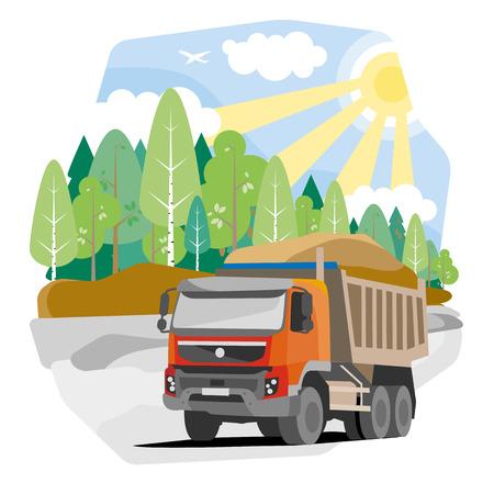 dump body: Drawing red dump truck sand, vector illustration Illustration