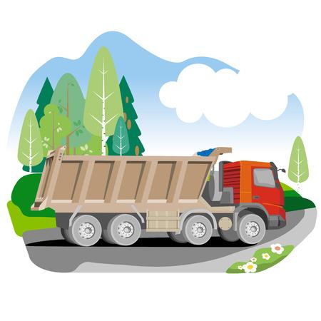 dump body: Drawing red tipper dump truck in summer background, vector illustration