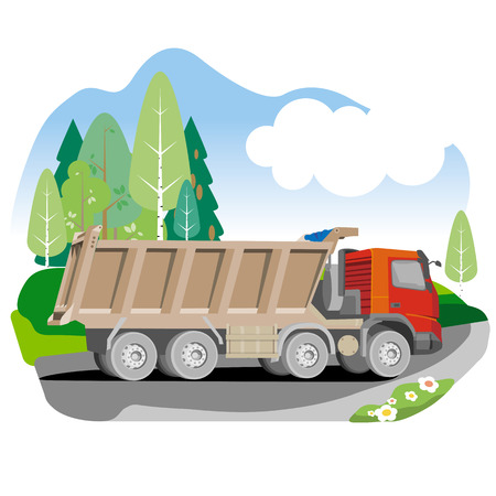 Drawing red tipper dump truck in summer background, vector illustration