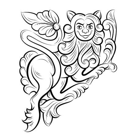tallado en madera: Patrón de dibujo con el león, Vladimir, Rusia. Ilustración del vector