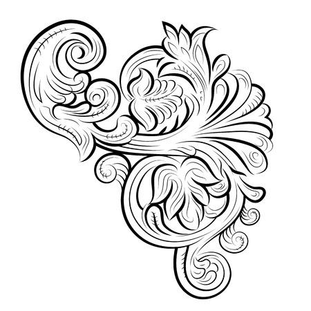 tallado en madera: Patrón de dibujo con hojas, Vladimir, Rusia. Ilustración del vector