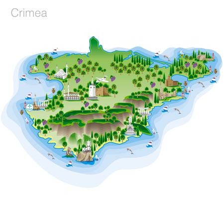 Drawing of color Crimea tourist map. Vector illustration Illustration