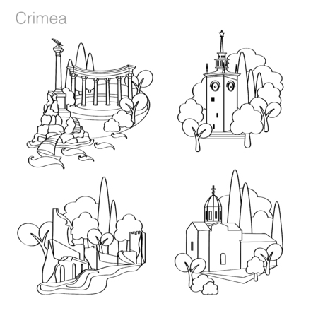 Landmarks of Crimea. Set of icons. Drawing vector illustration