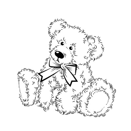 beloved: Drawing Teddy Bear with bow. Vector illustration