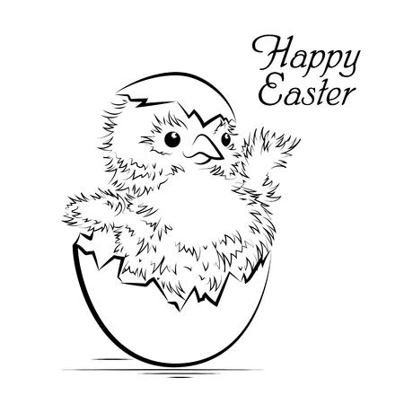 Tarjeta de Pascua con el pollo recién nacido. ilustración vectorial