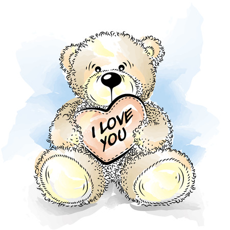 one animal: Drawing Teddy Bear with heart. Color vector illustration Illustration
