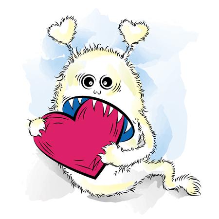 gremlin: Drawing cool monster in love. St Valentines color vector illustration