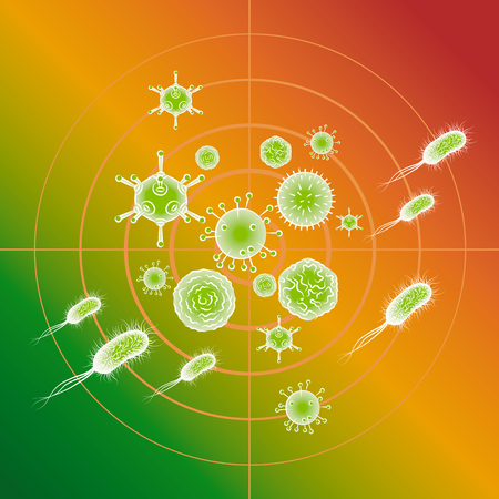 Influenza viruses and E coli Bacteria. Color vector illustration