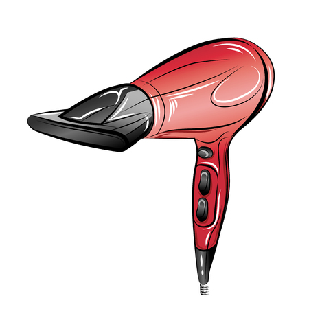 Hair dryer isolated on white background. Color vector illustration