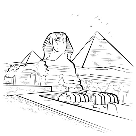 Drawing pyramids and Sphinx in Giza, Egypt. Vector illustration Иллюстрация