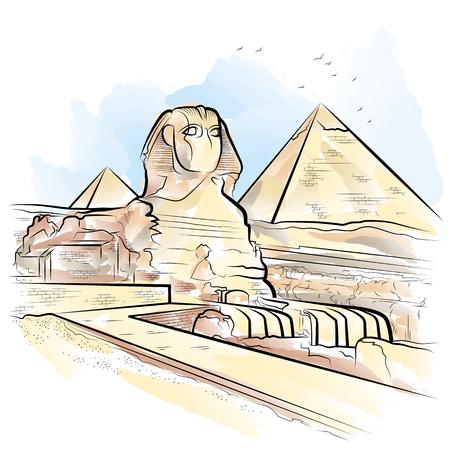 Dibujo de pirámides de colores y esfinge en Giza, Egipto. Ilustración vectorial