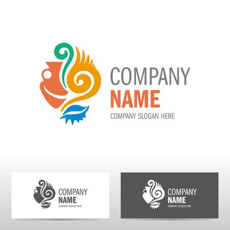 corporation: Travel logo design with amphora. Vector illustration