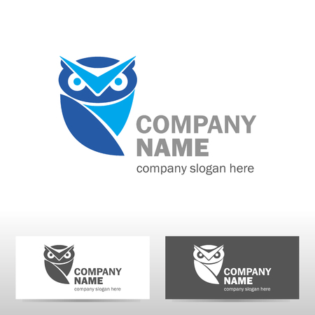 Business logo design with owl. Vector illustration
