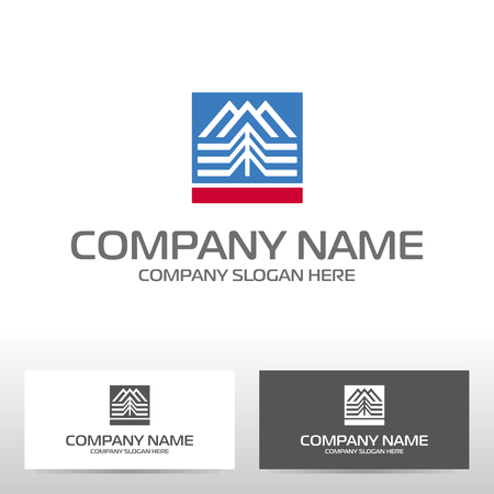 Logo design with mountains and forest. Vector illustration Reklamní fotografie - 80904706