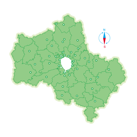 Map of Moscow Region. Vector illustration