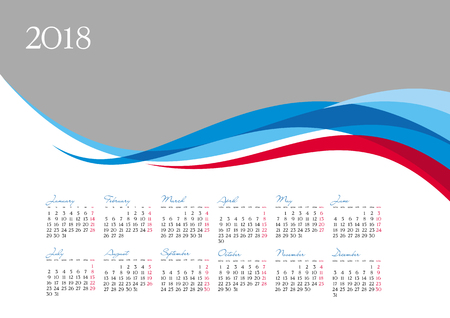 Template of 2018 calendar on gray background, vector illustration Illustration