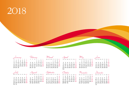 Template of 2018 calendar on orange background, vector illustration