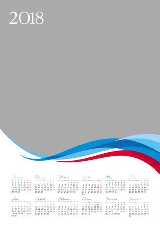 Template of 2018 calendar on gray background, vector illustration Ilustrace