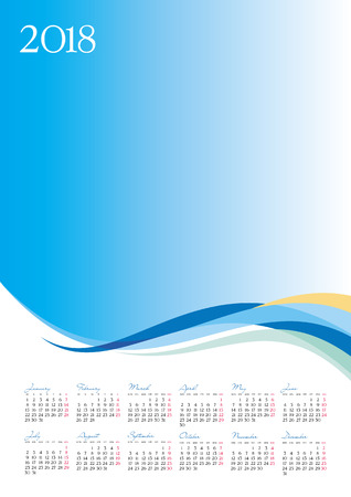 Template of 2018 calendar on blue background, vector illustration