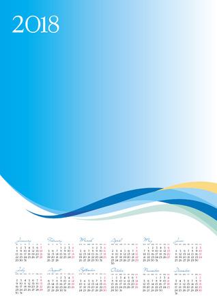 Template of 2018 calendar on blue background, vector illustration