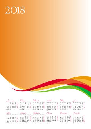 Template of 2018 calendar on orange background, vector illustration