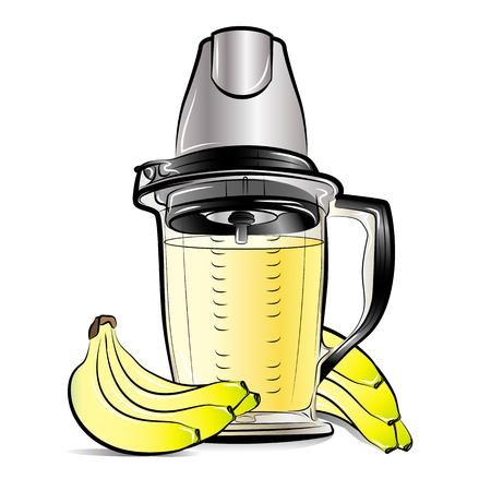 Drawing color kitchen blender with Bananas juice. Vector illustration Ilustrace