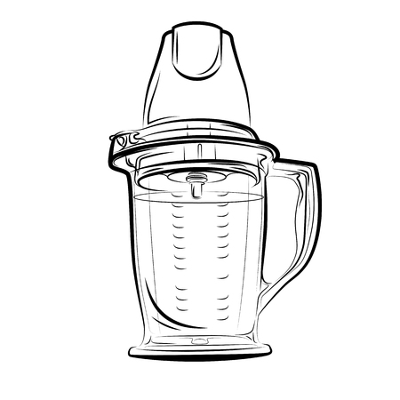 Drawing black and white kitchen blender. Vector illustration