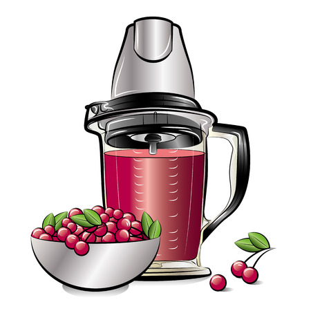 Drawing color kitchen blender with Cherry juice. Vector illustration Illustration