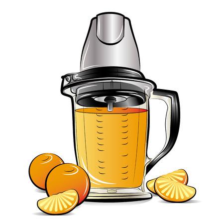 Drawing color kitchen blender with Orange juice. Vector illustration Ilustrace