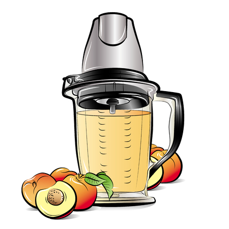 Drawing color kitchen blender with Peach juice. Vector illustration Ilustrace