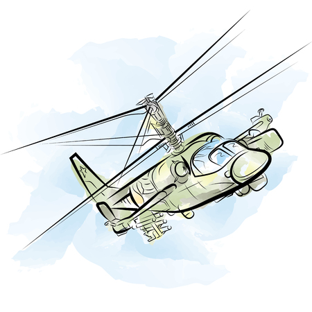 Russian military helicopter. Drawing vector illustration