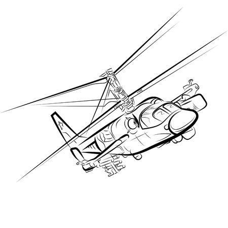 Russian military helicopter. Drawing vector illustration Imagens - 133745063