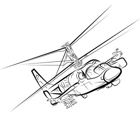 Russischer Militärhubschrauber. Zeichnungsvektorillustration