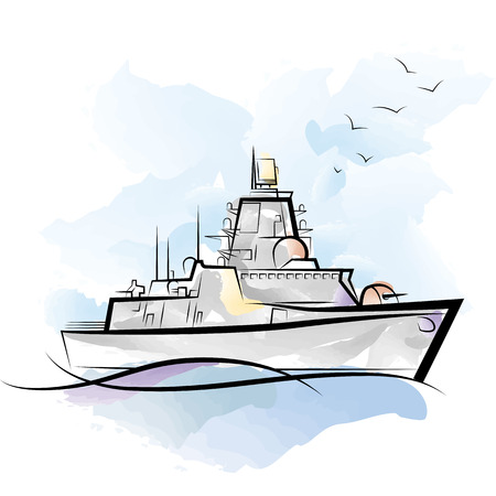 Russian color military warship. Drawing vector illustration