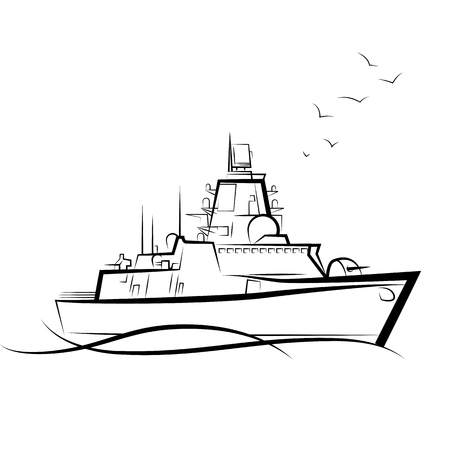 Russian military warship. Drawing vector illustration