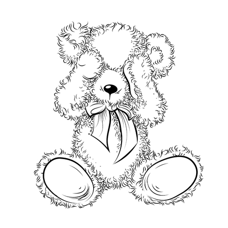 Drawing unhappy Teddy Bear closing eyes. Black and white vector illustration Stock Illustratie
