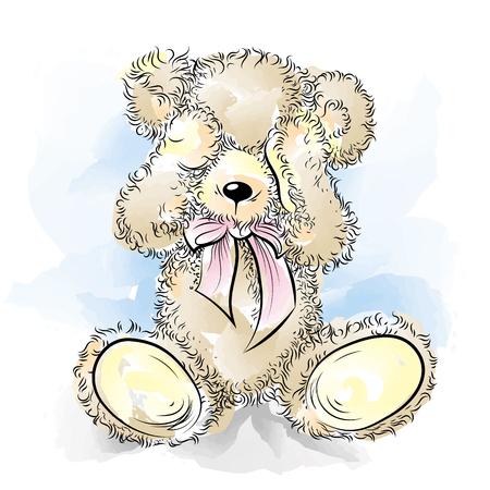 Drawing unhappy Teddy Bear closing eyes. Color vector illustration Ilustrace
