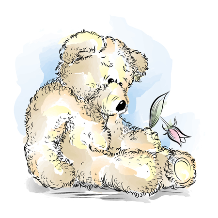 Drawing unhappy Teddy Bear with broken flower. Color vector illustration Ilustrace