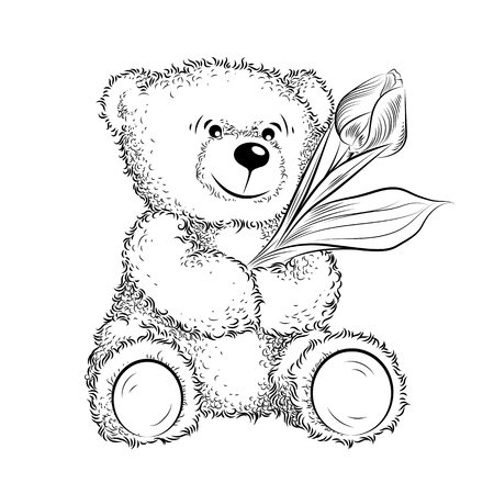 Drawing Teddy Bear with flower. Black and white vector illustration Ilustrace