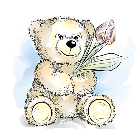 Drawing Teddy Bear with flower. Color vector illustration Ilustrace