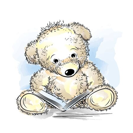 Drawing Teddy Bear with book. Color vector illustration