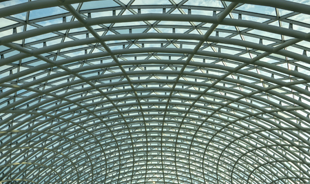 architecture, hemisphere, metal construction of the glass roof of the shopping center. Banco de Imagens - 120718898