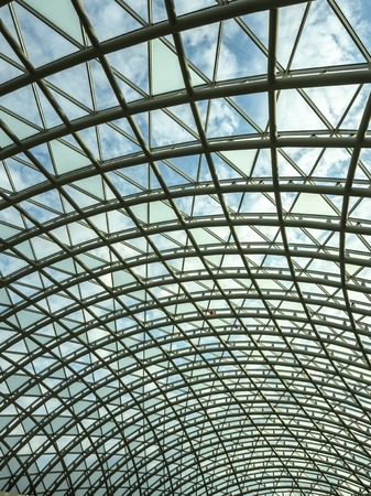 architecture, hemisphere, metal construction of the glass roof of the shopping center. Banco de Imagens - 120718902