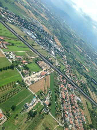 Italy, neighborhood of Rimini, view from the plane window 版權商用圖片