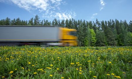 a truck with a yellow cab rushes along the road along the forest, the roadside is covered with yellow dandelions
