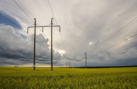 high-voltage power line in the field of blooming yellow rape flowers on the background of the sky with storm clouds