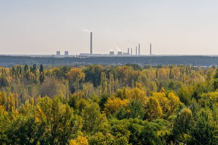 Smoky chimneys of the plant rise above the autumn forest