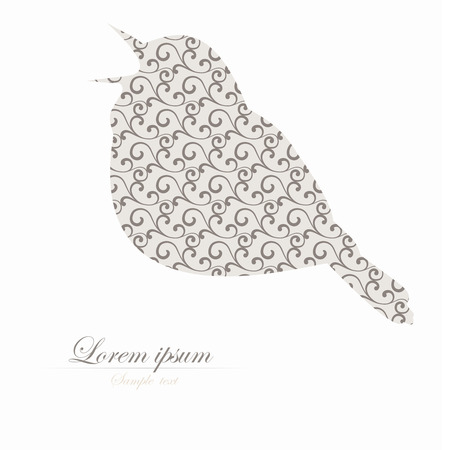 twitter: Template of brochure with stylized decorative ornamental twitter bird Illustration