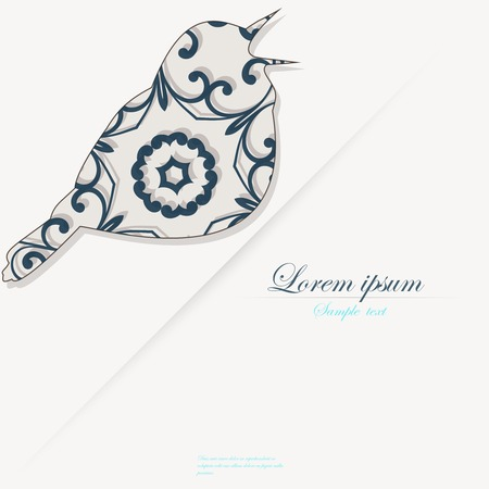 Template of brochure with stylized decorative ornamental twitter bird Vector